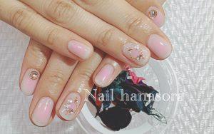 ブライダルネイルギャラリー|乳白色ベースにピンクのチークネイル