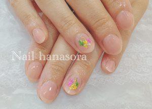 ブライダルネイルギャラリー|押し花アートとピンクのクリアカラー
